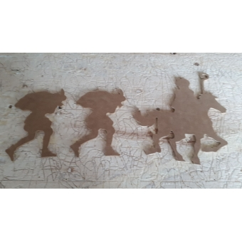 MDF 227 MDF Sinterklaas (20 cm)op paard  met 2 pieten (set)