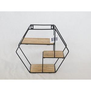 DK25 Design wandrek hexagon metaal/hout 30x11x26cm